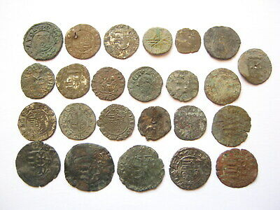 Lot of 24 Medieval European Copper and Bronze Coins 14th-16th Century AD (SM#07)