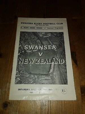 NEW ZEALAND v SWANSEA 14th December 1963  RUGBY PROGRAMME