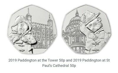 2019 UNC PADDINGTON BEAR 50p SET AT ST PAULS AND TOWER OF LONDON FROM SEALED BAG