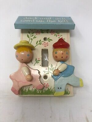 Vintage Wooden Jack & Jill Light Switch Plate Cover Nursery Decor Rhymes