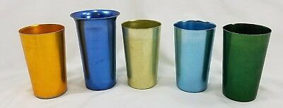 5 Vintage Multi Color Aluminum Drinking Glasses Tumblers Bascal Halsey