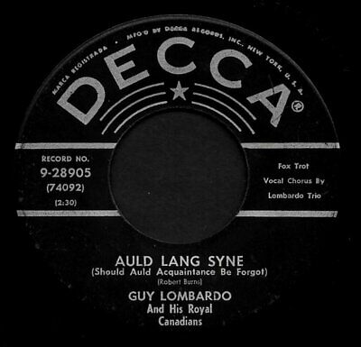 """GUY LOMBARDO """"AULD LANG SYNE/Hot Time In The Old..."""" DECCA 9-28905 (1953) 45rpm"""