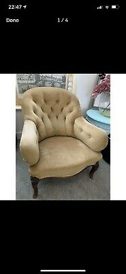 Victorian Button Back Armchair Fireside Easy Chair   Antique Crushed Velvet