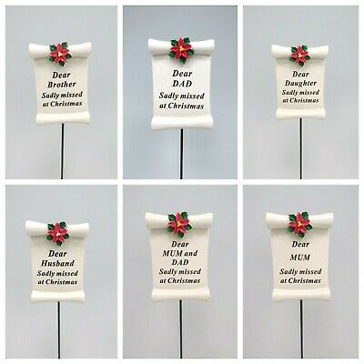 Poinsettia scroll Christmas Xmas Memorial Graveside Stick Family Relations