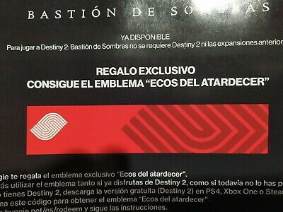 Destiny 2 Emblem Sunset echoes / Ecos del atardecer. Madrid Games week code.