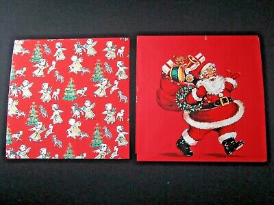 Lot of 2 Vintage 1950's Mid Century Christmas Wrapping Paper, Santa & Angels