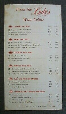 Hawaii Menu, The Duke's Wine List, International Marketplace, Waikiki Hawaii
