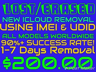 New! Lost/Erased Icloud Removal Using Imei & UDID WORLDWIDE!
