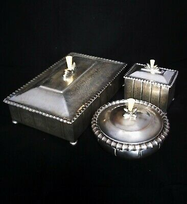 "SECESSIONIST ARTS & CRAFTS ""SMOKER'S BOXES SET"" by WMF c.1920 JOSEF HOFFMANN ERA"