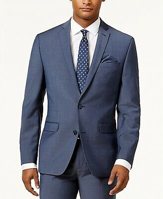 BAR III $425 NEW 10016 Wool Blend Slim Fit Mens Active Jacket Blazer Blue 40S