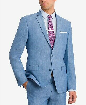Bar III $275 Mens 10018 Slim-Fit Blue Chambray Suit Jacket  Linen Sport Coat 40R