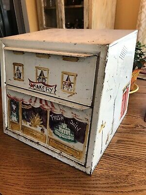 Vintage 50's Double Door Metal Bread Box and Pie Safe.  Used. Good Condition