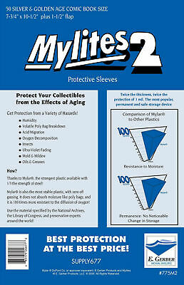 1 pack of 50 x Mylites2, Silver/Gold Comic Bags, Mylar, Protection