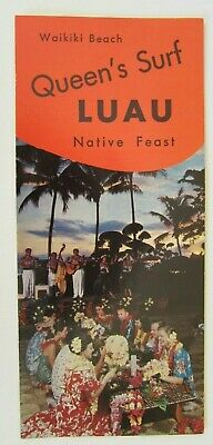 1950s Queen's Surf Luau Native Feast Brochure Menu, Waikiki Beach, Hawaii