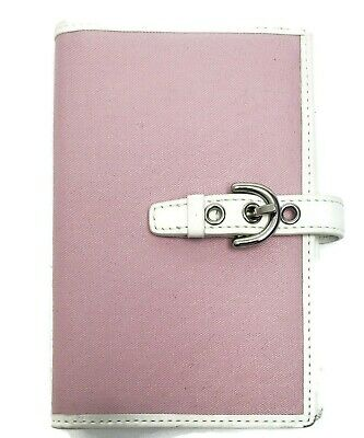 COACH Pink Canvas White Leather / Photo album Holder Leather Interior