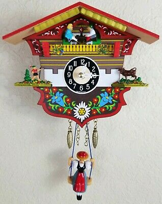 Vintage German Cuckoo Clock  Engstier Chimes Small Colorful