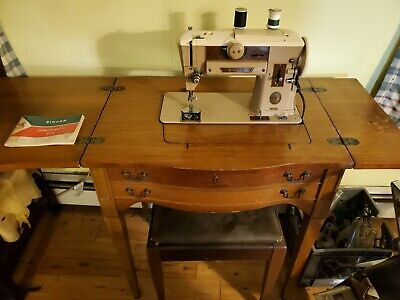 Vintage Singer 401A Slant-O-Matic Sewing Machine Knee Pedal Wood Stand Working