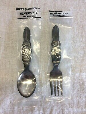 NEW Reed & Barton Rabbit Silver Plate 2 pc Baby Set Fork & Spoon Sealed