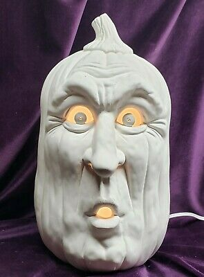 Startled Pumpkin , Lightable, Ceramic Bisque, Ready to Paint