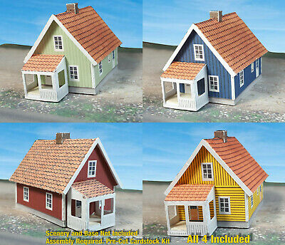 Z Scale Building - Cover Stock(paper) Pre-Cut Nordic Style houses - ZS4P