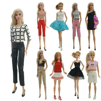 5 Sets Barbie Doll Casual Wear Fashion Outfit Clothes Pants Tops Skirt Mix Style