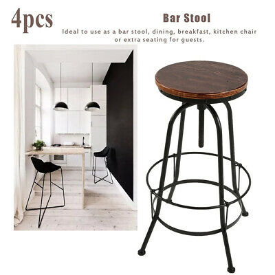 4pcs Vintage Bar Stool Metal Wooden Industrial Retro Seat Adjustable Height