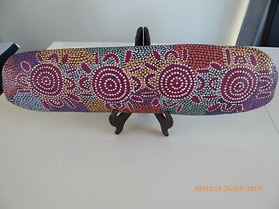 Central Desert Aust Aboriginal Coolamon Food Carrier. Double Sided Dot Painted