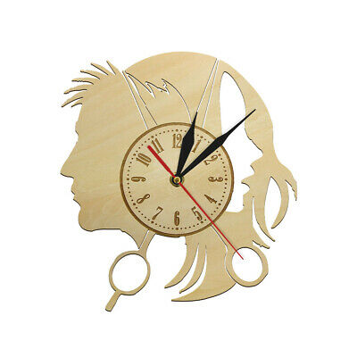 Hairdressers Sign Wood Wooden Silent Wall Clock Barber Shop Wall Hanging Watch