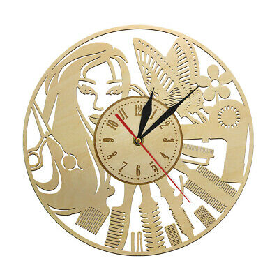 Personality Barber Shop Art Decor Wall Clock Wood Hanging Watch for Hairdresser
