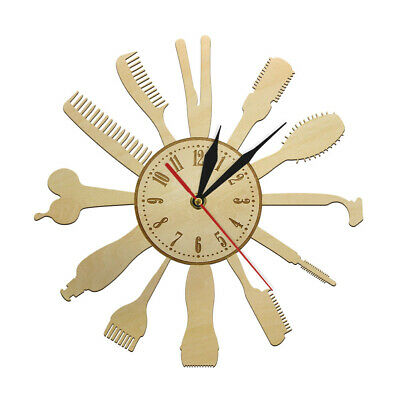 Barber Shop Silent Wall Clock Barber Equipments Wood Hair Dressing Tools Watch