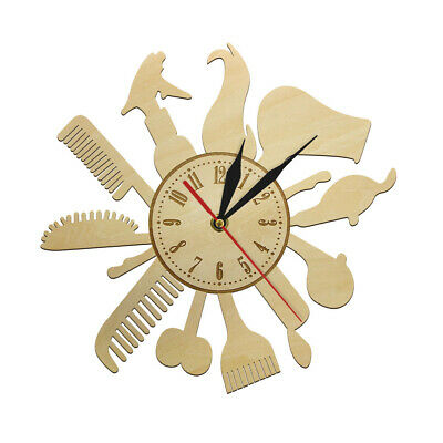 Barber Shop Silent Wood Wall Clock Hair Salon Tools Hanging Watch Hipster Gift