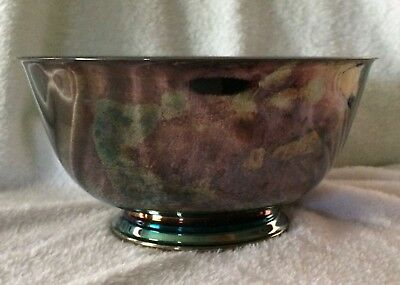 """Vintage Paul Revere Reproduction Oneida Usa Silver-Plated  Footed Bowl 8"""" X 4"""""""