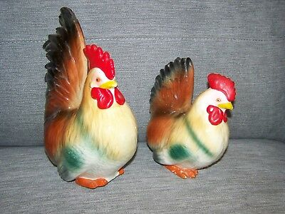 Vintage Extra Large 1950'S Rooster & Hen Salt & Pepper Shakers.