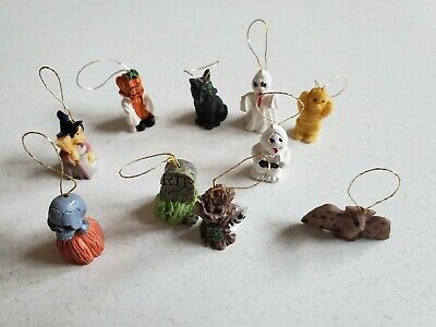 Halloween Ornaments Mini Decorations Set of 10 Hang on a Mini Tree Ghost Witch
