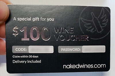 NEW! $100 NakedWines.com Wine Voucher Naked Wines Amazing Deal! $100 Gift Card!