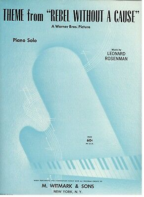 "Theme From ""Rebel Without A Cause"" Sheet Music-Piano Solo-1956-Rare-New On Sale!"
