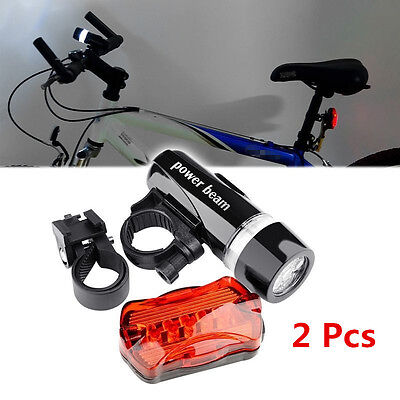 2x Bike Light Head + Rear Safety Alarm Set Bicycle Cycle White Beam 5 LED Lamp B