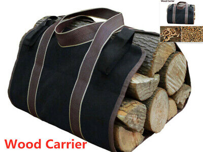 Canvas Log Carrier Tote Bag Indoor Firewood Carry Wood Holders Round Rack Large