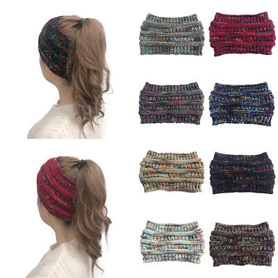 Women's Messy Bun Hat Knitted Ponytail Baggy Beanie Oversize Winter Ski Cap