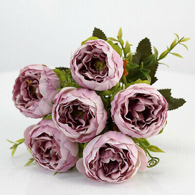 Artificial Rose Flower Fake Peonies Silk Bouquet Home Wedding Party Decoration