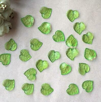 100pcs Green Leaf Frosted Acrylic Spacer Beads Caps For Jewelry Making 15*16mm