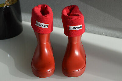 Kids Hunter Wellingtons And Socks Red Size Uk 5 Eu 22 Boys Girls Wellies Childs