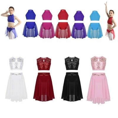 Girls 2Pcs Lyrical Dance Dress Kids Ballet Gym Leotard Crop Tops+Skirt Dancewear
