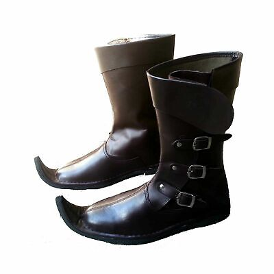 Medieval Leather Boots Brown Reenactment Mens Shoe Pirate Role Play Boot