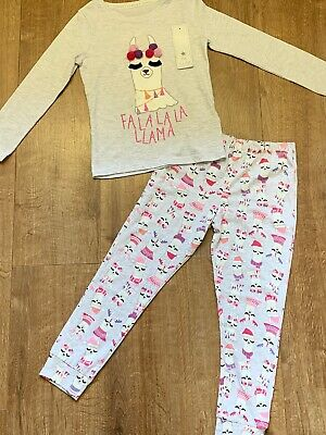 F&F Girls Llama Christmas Pyjamas Pjs Size Age 5-6 Years NEW BNWT Xmas Gift
