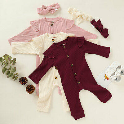 Cute Newborn Infant Baby Girl Outfit Cotton Romper Jumpsuit Playsuit Clothes Set