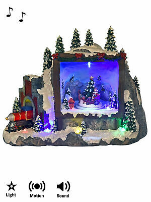 LED Animated Musical Christmas Snow Scene In Train Light Up Village Santa Sleigh