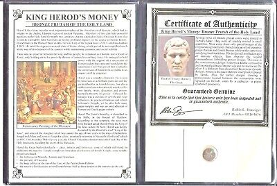 Ancient Roman Herod Prutah of The Holy Land Coin with Certificate and Album