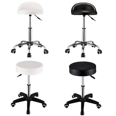 Rolling Adjustable Salon Stool Chair Spa Massage Manicure Tattoo Black/White