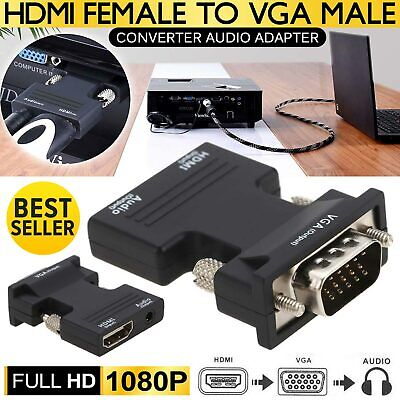 1080P Female HDMI to VGA Male Converter Adapter Dongle with Audio Connector